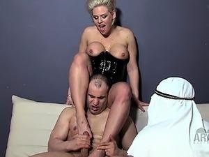 cuckold eats cum from hot pussy
