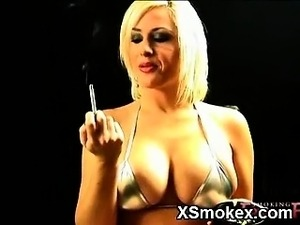 naked pussy smoking cigarette