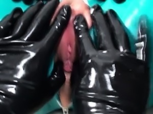 Kinky lesbian in latex gets fingered
