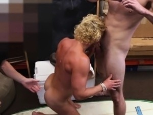 Muscled surfer sucks two cocks for cash