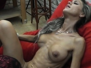 skinny girl crying from anal