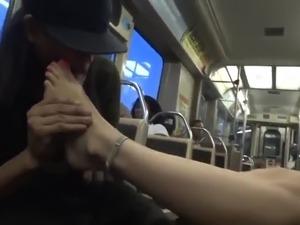 Girl masturbating on train