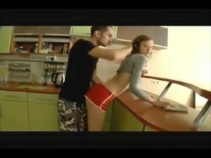 blonde kitchen sex video
