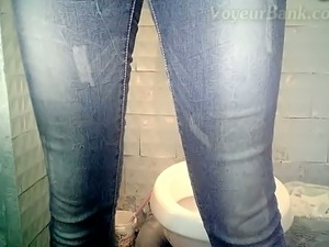 Nude girl on toilet