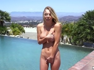 two sexy girls by pool