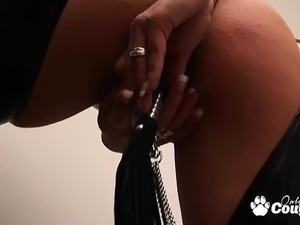 handjob in leather gloves video