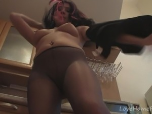 Shiny pantyhose ass pussy maid secretary kitchen, sexy football pants