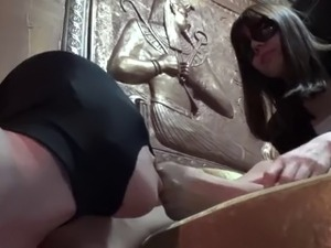 girl puts foot in her pussy