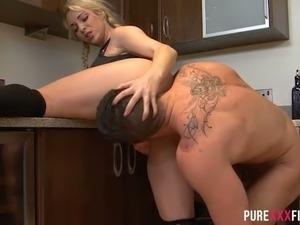 Lesbian sex in kitchen