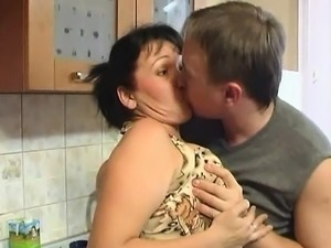 Son fucks sexy mom seduces her
