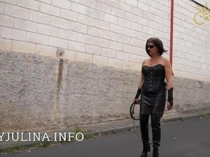 wife wearing sexy leather outfit